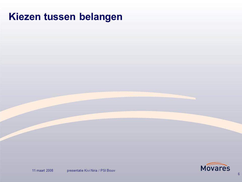 11 maart 2008presentatie Kivi Niria / PSI Bouw 6 Kiezen tussen belangen