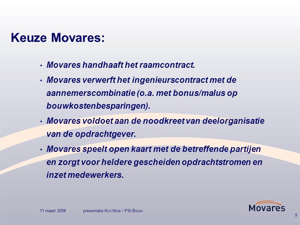 11 maart 2008presentatie Kivi Niria / PSI Bouw 9 Keuze Movares: Movares handhaaft het raamcontract.