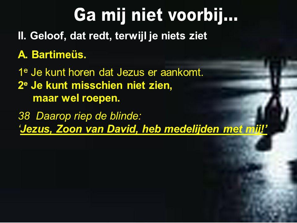 II. Geloof, dat redt, terwijl je niets ziet A. Bartimeüs. 1 e Je kunt horen dat Jezus er aankomt. 2 e Je kunt misschien niet zien, maar wel roepen. 38