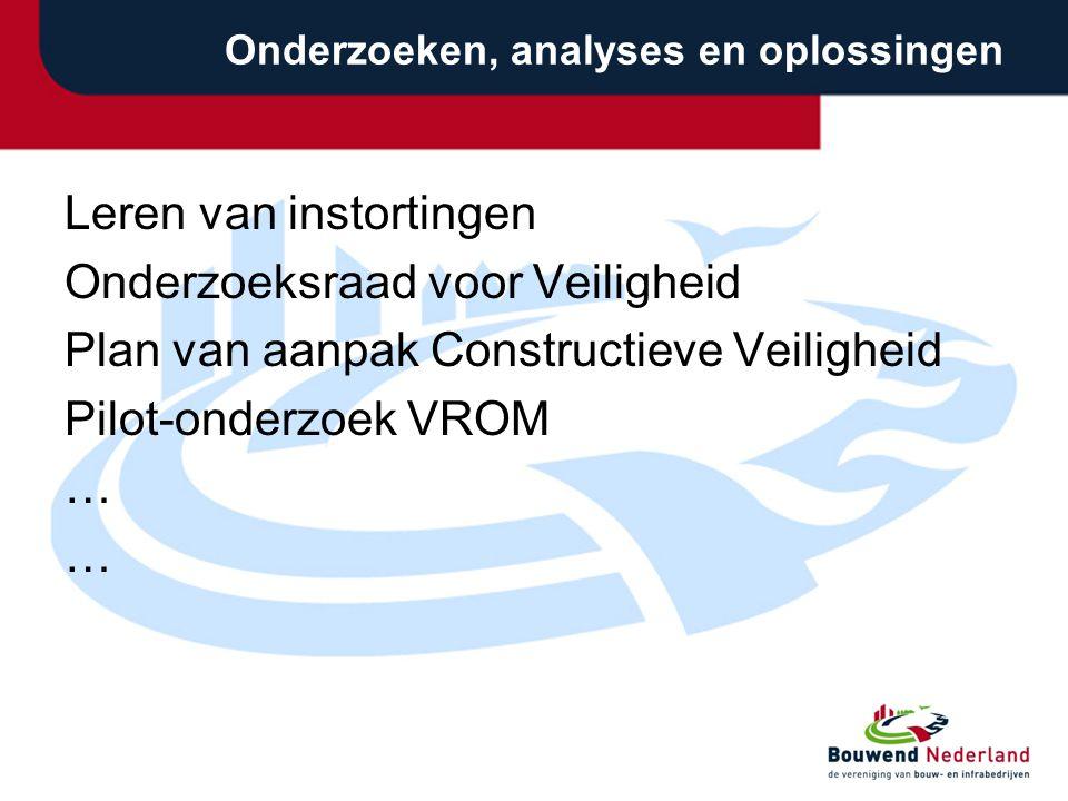 Onderzoeken, analyses en oplossingen Leren van instortingen Onderzoeksraad voor Veiligheid Plan van aanpak Constructieve Veiligheid Pilot-onderzoek VROM …