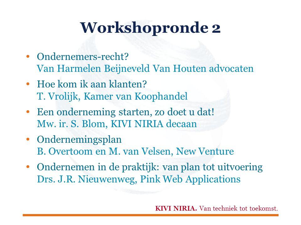KIVI NIRIA. Van techniek tot toekomst. Workshopronde 2  Ondernemers-recht.