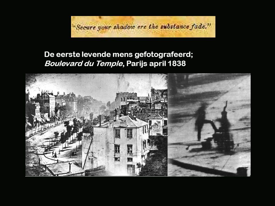 De eerste levende mens gefotografeerd; Boulevard du Temple, Parijs april 1838