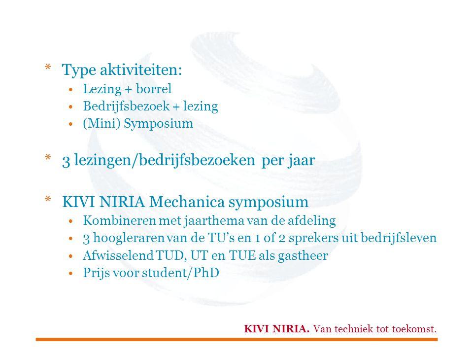 KIVI NIRIA. Van techniek tot toekomst. *Type aktiviteiten: Lezing + borrel Bedrijfsbezoek + lezing (Mini) Symposium *3 lezingen/bedrijfsbezoeken per j
