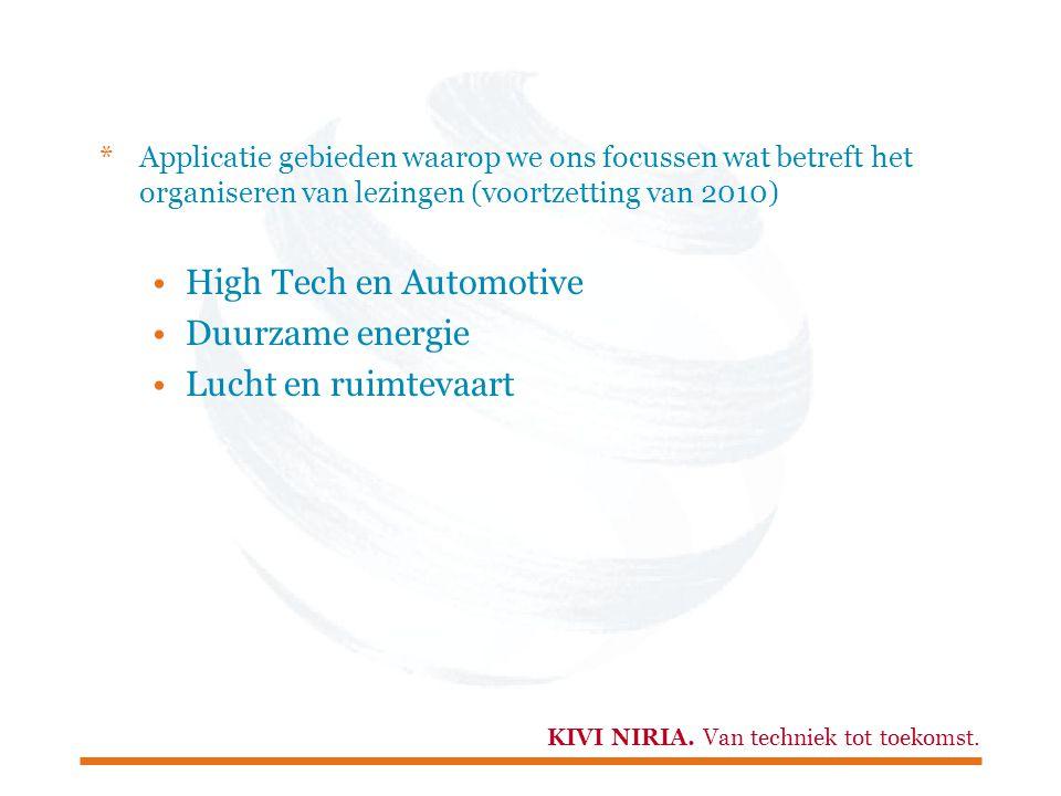 KIVI NIRIA. Van techniek tot toekomst. *Applicatie gebieden waarop we ons focussen wat betreft het organiseren van lezingen (voortzetting van 2010) Hi