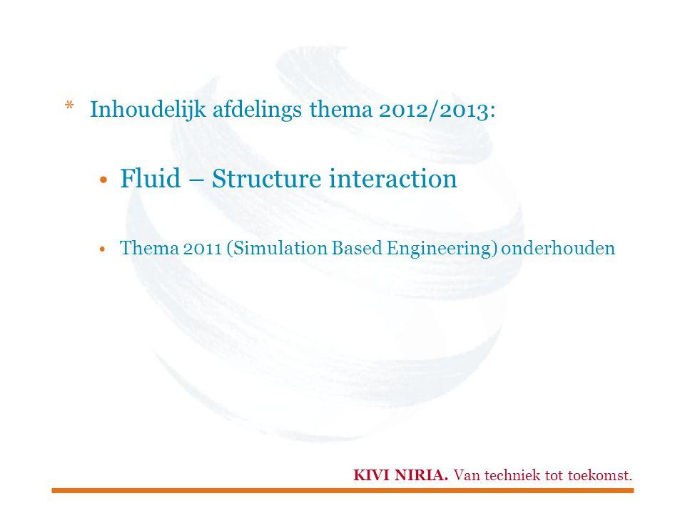 KIVI NIRIA. Van techniek tot toekomst. *Inhoudelijk afdelings thema 2012/2013: Fluid – Structure interaction Thema 2011 (Simulation Based Engineering)