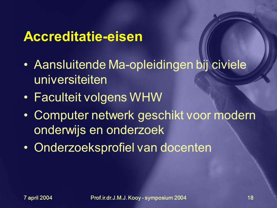 7 april 2004Prof.ir.dr.J.M.J. Kooy - symposium 200418 Accreditatie-eisen Aansluitende Ma-opleidingen bij civiele universiteiten Faculteit volgens WHW