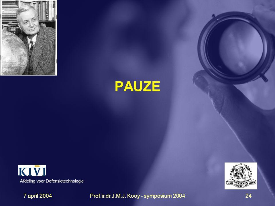 7 april 2004Prof.ir.dr.J.M.J. Kooy - symposium 200424 PAUZE Afdeling voor Defensietechnologie