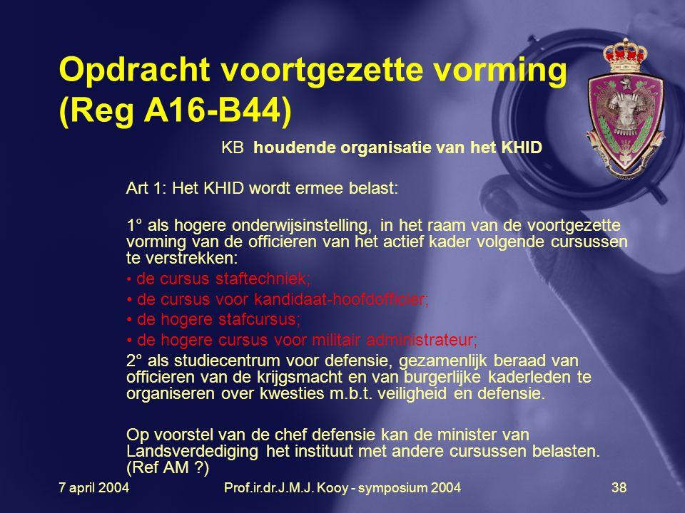 7 april 2004Prof.ir.dr.J.M.J. Kooy - symposium 200438 Opdracht voortgezette vorming (Reg A16-B44) KB houdende organisatie van het KHID Art 1: Het KHID