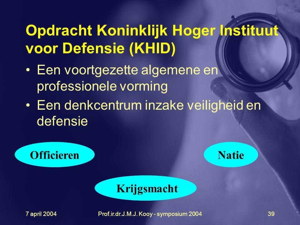 7 april 2004Prof.ir.dr.J.M.J. Kooy - symposium 200439 Officieren Krijgsmacht Natie Opdracht Koninklijk Hoger Instituut voor Defensie (KHID) Een voortg