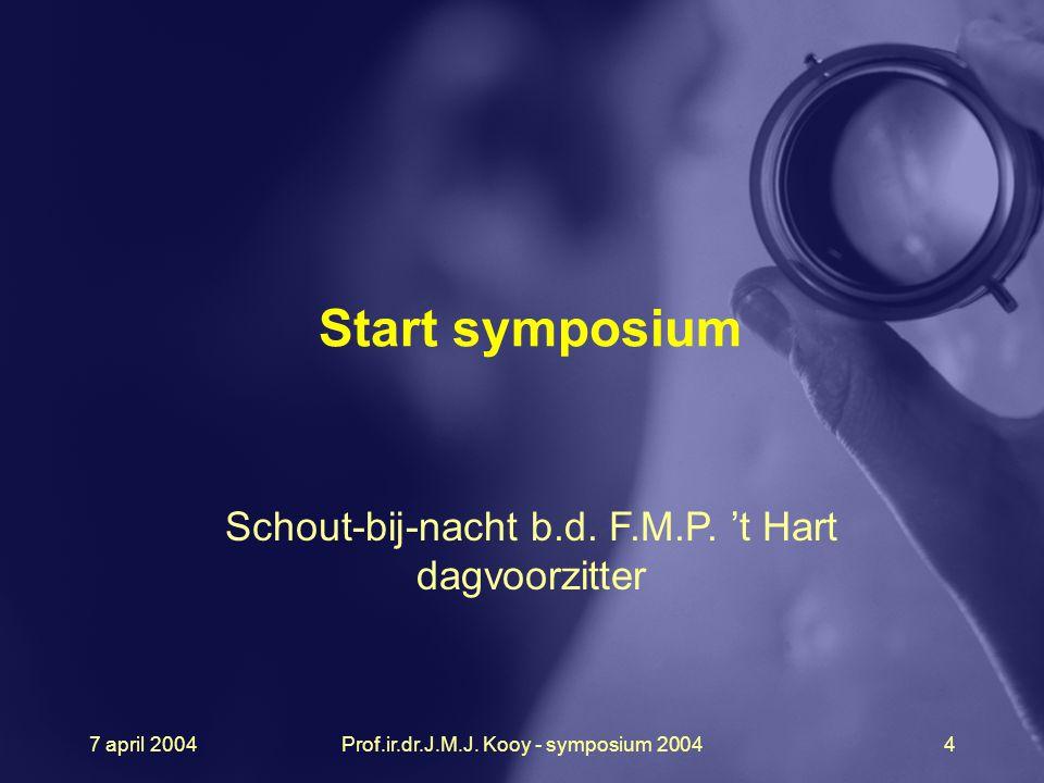 7 april 2004Prof.ir.dr.J.M.J. Kooy - symposium 20044 Start symposium Schout-bij-nacht b.d. F.M.P. 't Hart dagvoorzitter