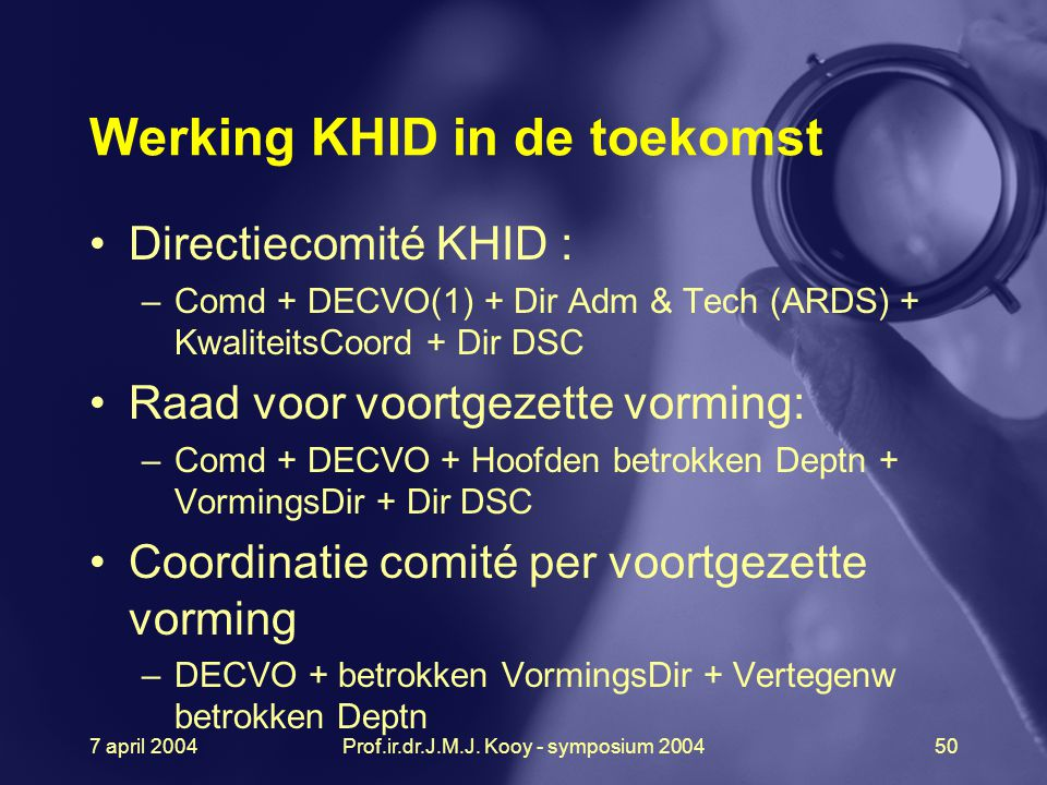 7 april 2004Prof.ir.dr.J.M.J. Kooy - symposium 200450 Werking KHID in de toekomst Directiecomité KHID : –Comd + DECVO(1) + Dir Adm & Tech (ARDS) + Kwa