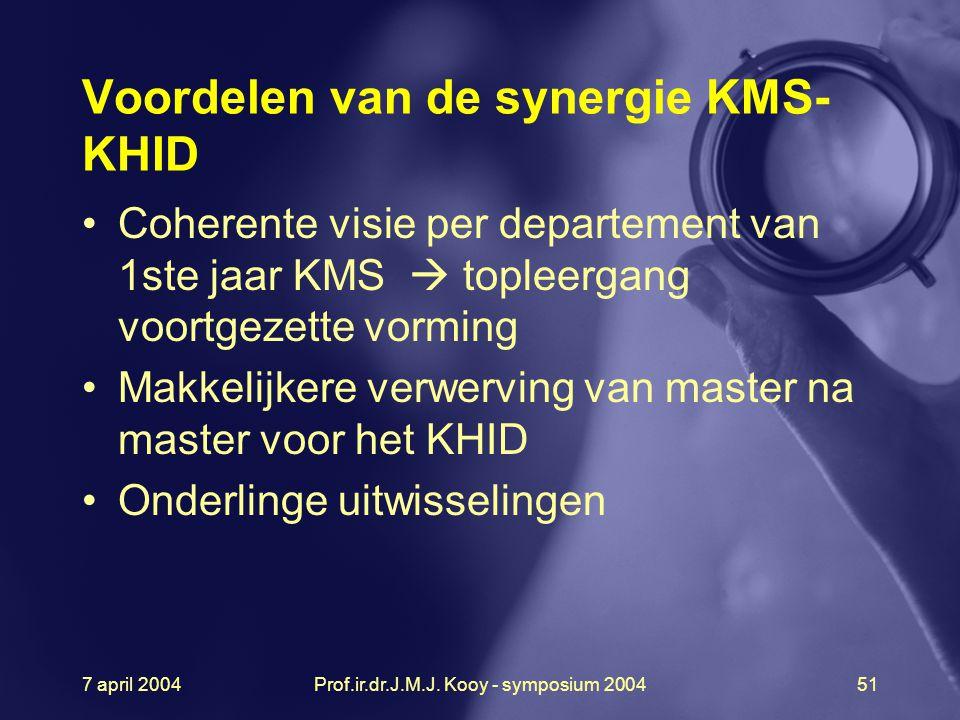 7 april 2004Prof.ir.dr.J.M.J. Kooy - symposium 200451 Voordelen van de synergie KMS- KHID Coherente visie per departement van 1ste jaar KMS  topleerg