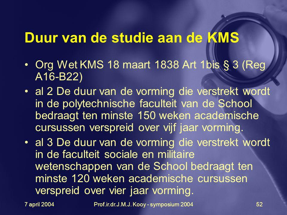 7 april 2004Prof.ir.dr.J.M.J. Kooy - symposium 200452 Duur van de studie aan de KMS Org Wet KMS 18 maart 1838 Art 1bis § 3 (Reg A16-B22) al 2 De duur