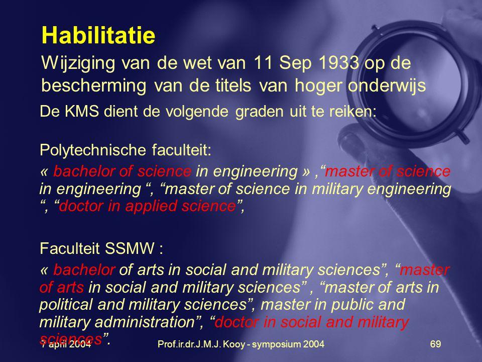 7 april 2004Prof.ir.dr.J.M.J. Kooy - symposium 200469 Habilitatie Wijziging van de wet van 11 Sep 1933 op de bescherming van de titels van hoger onder