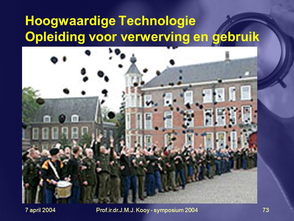 7 april 2004Prof.ir.dr.J.M.J. Kooy - symposium 200473 Hoogwaardige Technologie Opleiding voor verwerving en gebruik