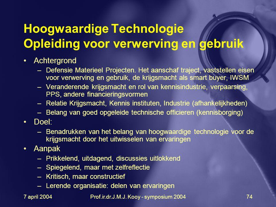 7 april 2004Prof.ir.dr.J.M.J. Kooy - symposium 200474 Hoogwaardige Technologie Opleiding voor verwerving en gebruik Achtergrond –Defensie Materieel Pr