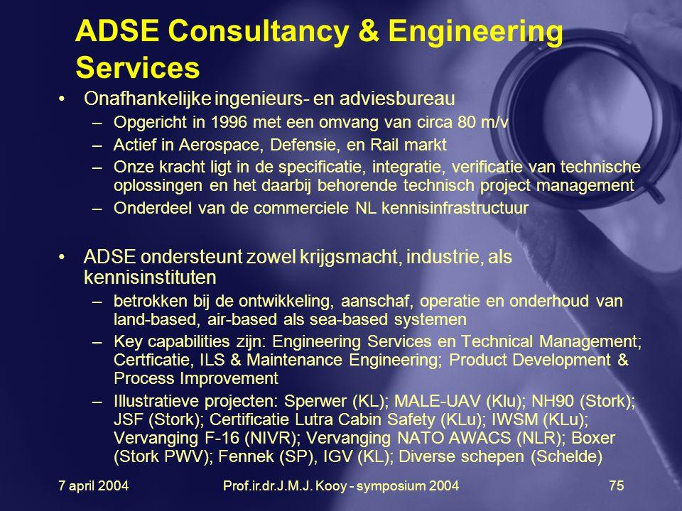 7 april 2004Prof.ir.dr.J.M.J. Kooy - symposium 200475 Onafhankelijke ingenieurs- en adviesbureau –Opgericht in 1996 met een omvang van circa 80 m/v –A