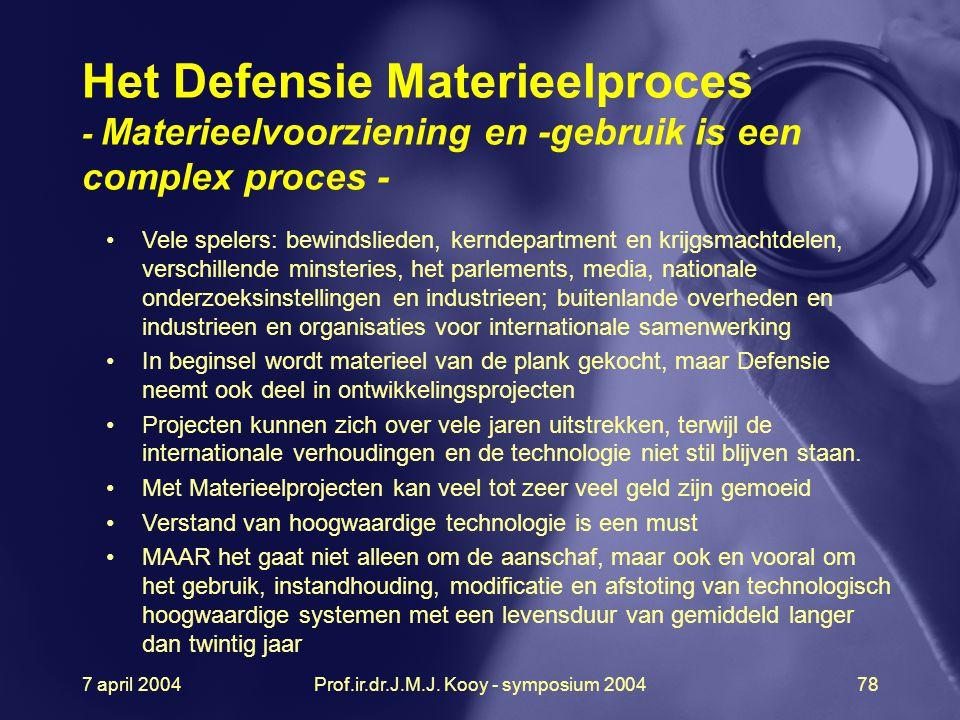 7 april 2004Prof.ir.dr.J.M.J. Kooy - symposium 200478 Het Defensie Materieelproces - Materieelvoorziening en -gebruik is een complex proces - Vele spe