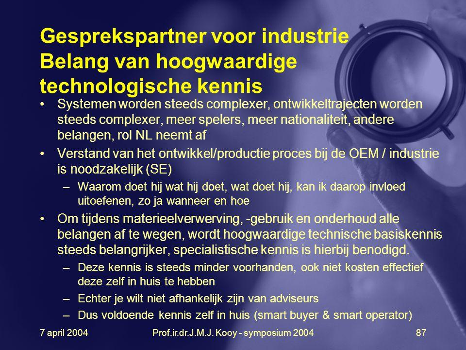 7 april 2004Prof.ir.dr.J.M.J. Kooy - symposium 200487 Gesprekspartner voor industrie Belang van hoogwaardige technologische kennis Systemen worden ste
