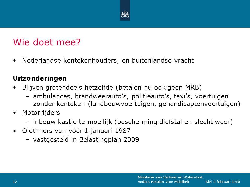 Ministerie van Verkeer en Waterstaat Anders Betalen voor Mobiliteit12Kivi 3 februari 2010 Wie doet mee.