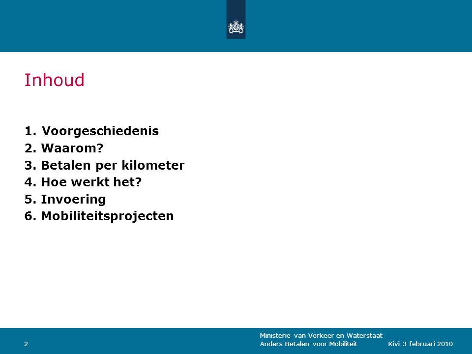 Ministerie van Verkeer en Waterstaat Anders Betalen voor Mobiliteit2Kivi 3 februari 2010 Inhoud 1.Voorgeschiedenis 2.