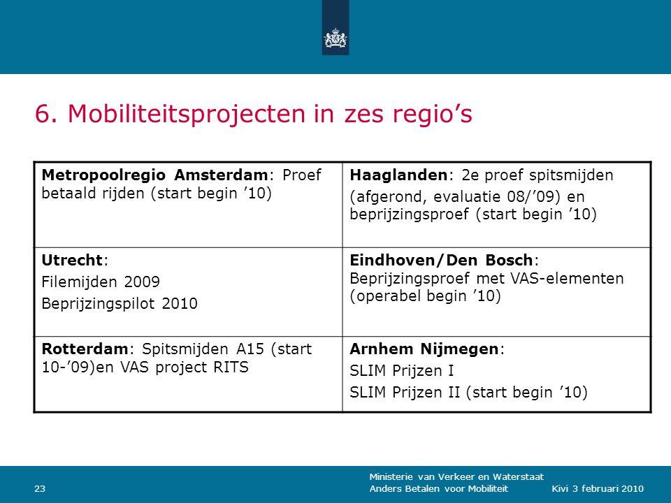 Ministerie van Verkeer en Waterstaat Anders Betalen voor Mobiliteit23Kivi 3 februari 2010 6.