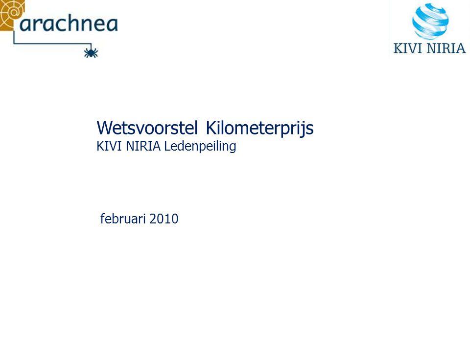 Ledenpeiling Wetsvoorstel Kilometerprijs In opdracht van KIVI NIRIA, Afdeling voor Verkeerskunde en Vervoerstechniek heeft Arachnea onder de leden de Afdeling een peiling uitgevoerd met betrekking tot het Wetsvoorstel Kilometerprijs.