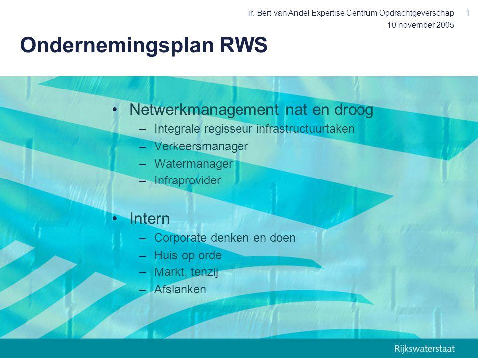 10 november 2005 ir. Bert van Andel Expertise Centrum Opdrachtgeverschap1 Ondernemingsplan RWS Netwerkmanagement nat en droog –Integrale regisseur inf