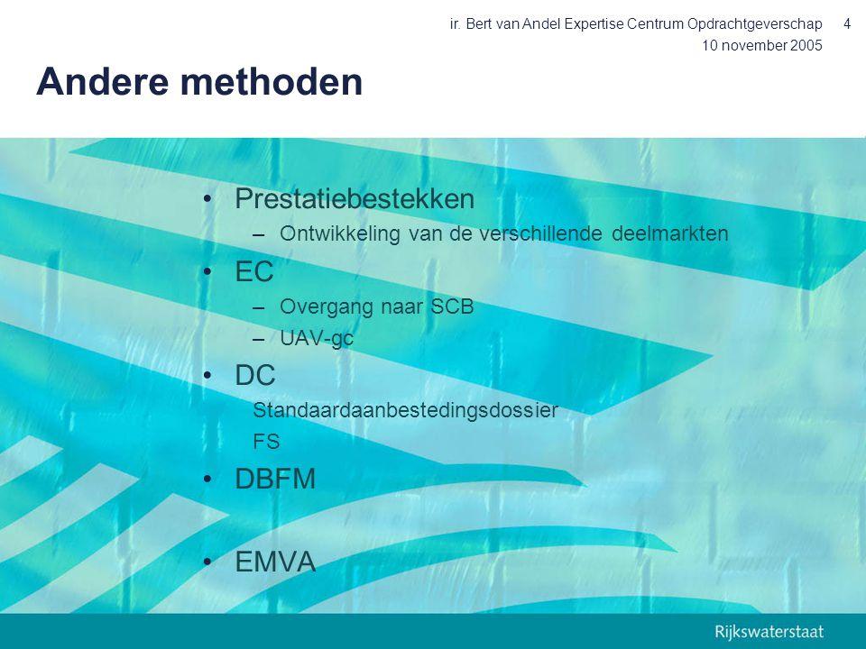 10 november 2005 ir. Bert van Andel Expertise Centrum Opdrachtgeverschap4 Andere methoden Prestatiebestekken –Ontwikkeling van de verschillende deelma