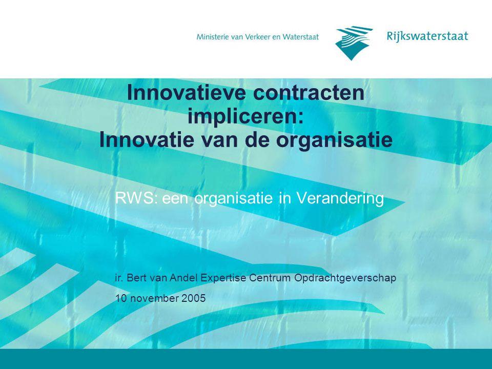 10 november 2005 ir. Bert van Andel Expertise Centrum Opdrachtgeverschap Innovatieve contracten impliceren: Innovatie van de organisatie RWS: een orga