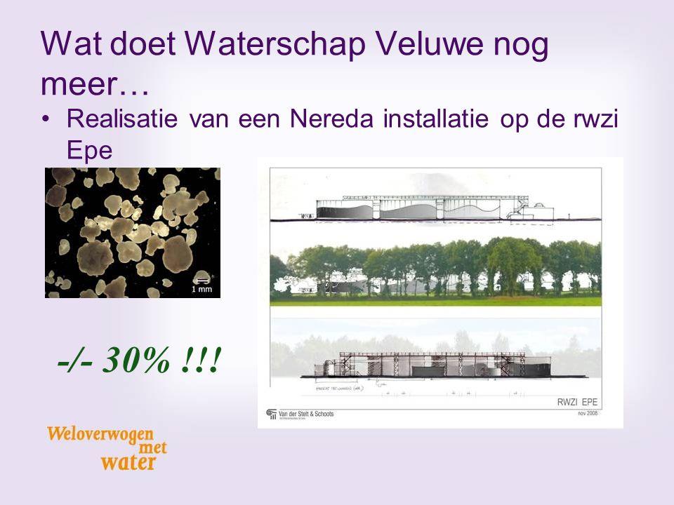 Wat doet Waterschap Veluwe nog meer… Realisatie van een Nereda installatie op de rwzi Epe -/- 30% !!!