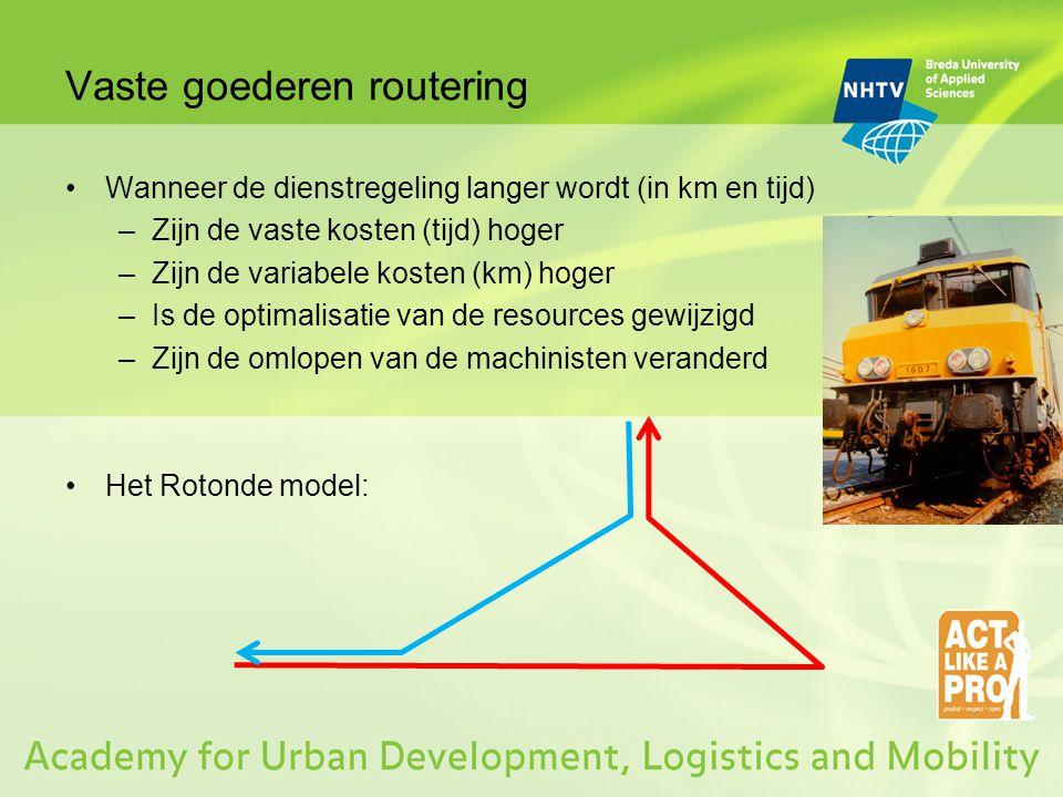 Vaste goederen routering Wanneer de dienstregeling langer wordt (in km en tijd) –Zijn de vaste kosten (tijd) hoger –Zijn de variabele kosten (km) hoge