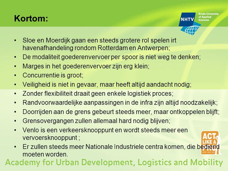 Kortom: Sloe en Moerdijk gaan een steeds grotere rol spelen irt havenafhandeling rondom Rotterdam en Antwerpen; De modaliteit goederenvervoer per spoo
