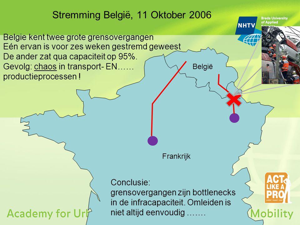 Stremming België, 11 Oktober 2006 Frankrijk België Eén ervan is voor zes weken gestremd geweest De ander zat qua capaciteit op 95%. Gevolg: chaos in t