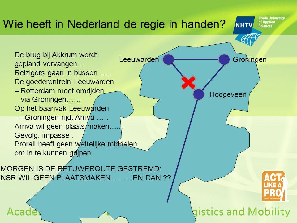 Wie heeft in Nederland de regie in handen? LeeuwardenGroningen Hoogeveen De brug bij Akkrum wordt gepland vervangen… Reizigers gaan in bussen ….. De g