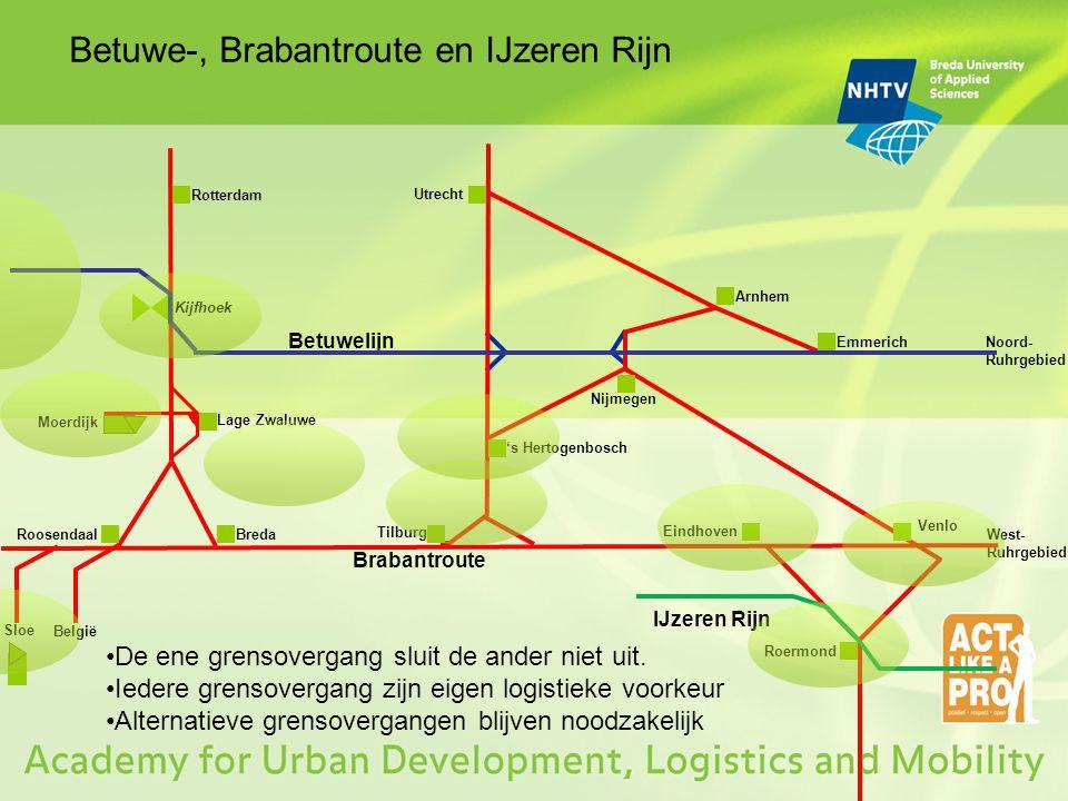 Betuwe-, Brabantroute en IJzeren Rijn Rotterdam Utrecht Arnhem Breda Tilburg 's Hertogenbosch Nijmegen Eindhoven Venlo Roermond Lage Zwaluwe Roosendaa