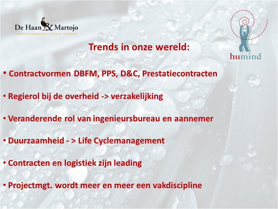 Trends in onze wereld: Contractvormen DBFM, PPS, D&C, Prestatiecontracten Regierol bij de overheid -> verzakelijking Veranderende rol van ingenieursbureau en aannemer Duurzaamheid - > Life Cyclemanagement Contracten en logistiek zijn leading Projectmgt.