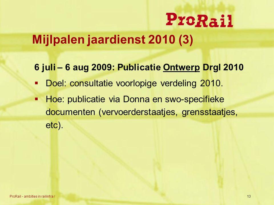 ProRail - ambities in railinfra /13 Mijlpalen jaardienst 2010 (3) 6 juli – 6 aug 2009: Publicatie Ontwerp Drgl 2010  Doel: consultatie voorlopige ver