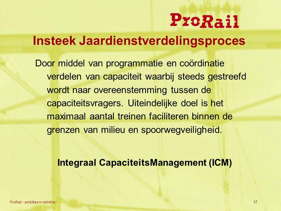 ProRail - ambities in railinfra /17 Insteek Jaardienstverdelingsproces Door middel van programmatie en coördinatie verdelen van capaciteit waarbij ste