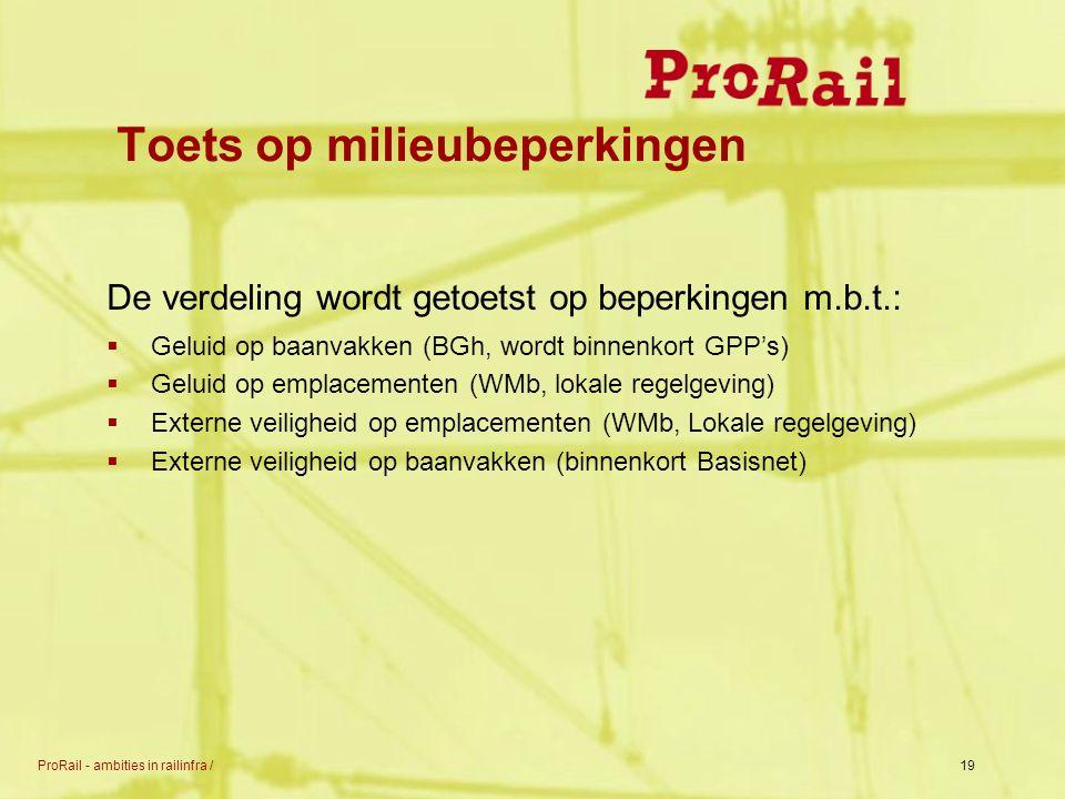 ProRail - ambities in railinfra /19 Toets op milieubeperkingen De verdeling wordt getoetst op beperkingen m.b.t.:  Geluid op baanvakken (BGh, wordt b