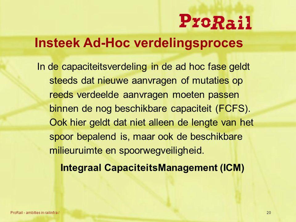 ProRail - ambities in railinfra /20 Insteek Ad-Hoc verdelingsproces In de capaciteitsverdeling in de ad hoc fase geldt steeds dat nieuwe aanvragen of