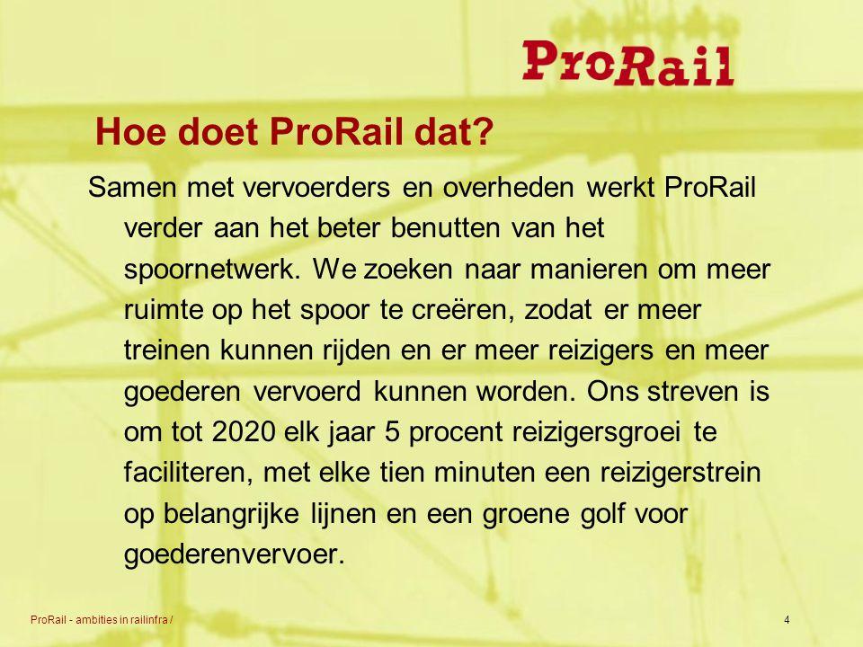 ProRail - ambities in railinfra /4 Hoe doet ProRail dat? Samen met vervoerders en overheden werkt ProRail verder aan het beter benutten van het spoorn