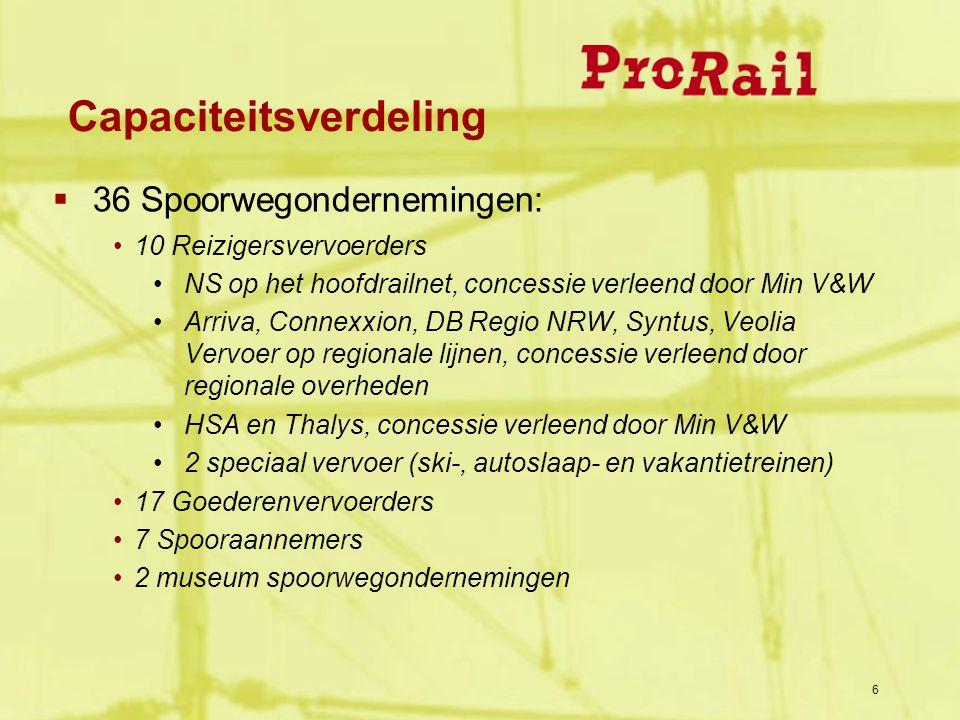  36 Spoorwegondernemingen: 10 Reizigersvervoerders NS op het hoofdrailnet, concessie verleend door Min V&W Arriva, Connexxion, DB Regio NRW, Syntus,