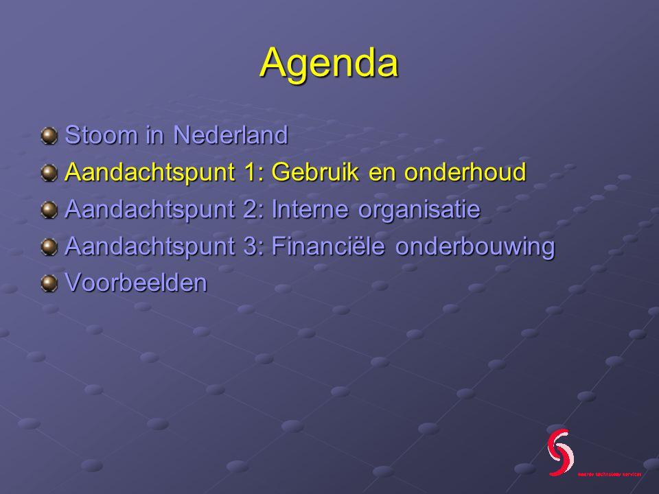 Agenda Stoom in Nederland Aandachtspunt 1: Gebruik en onderhoud Aandachtspunt 2: Interne organisatie Aandachtspunt 3: Financiële onderbouwing Voorbeelden