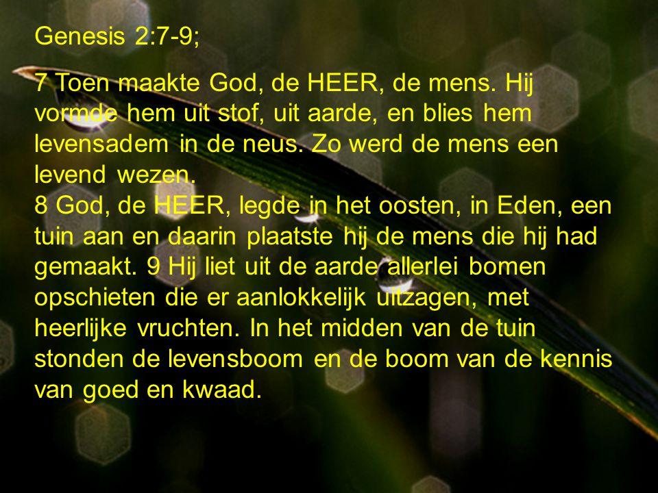 Genesis 2:7-9; 15 -17 en 19 15 God, de HEER, bracht de mens dus in de tuin van Eden, om die te bewerken en erover te waken.