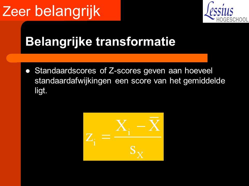 Belangrijke transformatie Standaardscores of Z-scores geven aan hoeveel standaardafwijkingen een score van het gemiddelde ligt. Zeer belangrijk