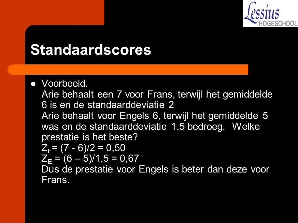 Standaardscores Voorbeeld. Arie behaalt een 7 voor Frans, terwijl het gemiddelde 6 is en de standaarddeviatie 2 Arie behaalt voor Engels 6, terwijl he