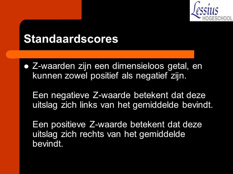 Standaardscores Z-waarden zijn een dimensieloos getal, en kunnen zowel positief als negatief zijn. Een negatieve Z-waarde betekent dat deze uitslag zi