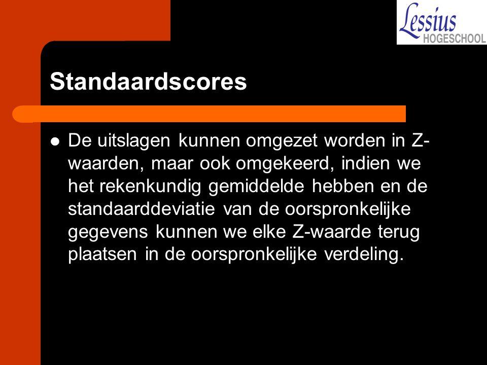 Standaardscores De uitslagen kunnen omgezet worden in Z- waarden, maar ook omgekeerd, indien we het rekenkundig gemiddelde hebben en de standaarddevia