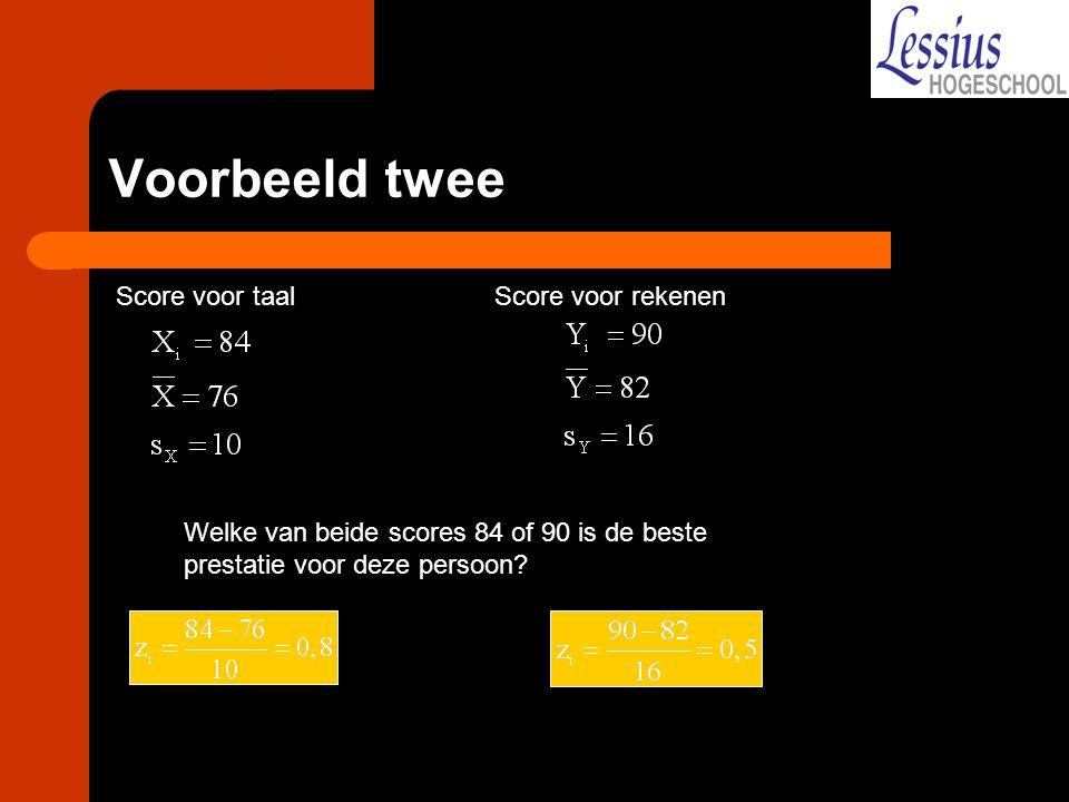Voorbeeld twee Score voor taalScore voor rekenen Welke van beide scores 84 of 90 is de beste prestatie voor deze persoon?